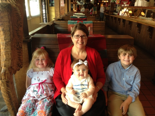 Nana and the three grands, Madelyn, 4, Ella, 8 mos, and Joey, 6, in Houston.